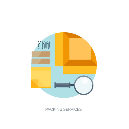 costumer: Vector illustration. Flat background. Delivery and package. Courier.  Loupe, sticky notes. Packaging. Illustration