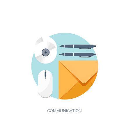 correspondence: Vector illustration. Flat communication background. Emailing. Social network. Business correspondence. Illustration