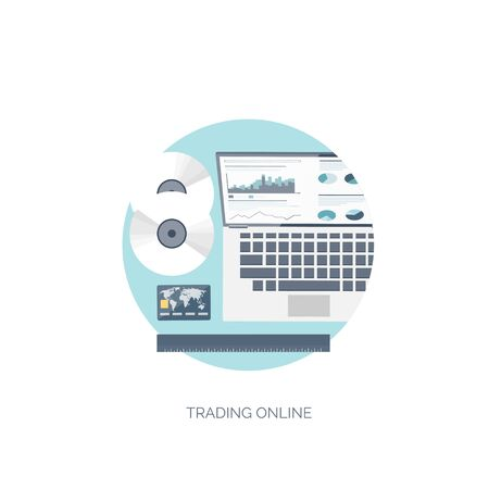 online trading: Flat vector illustration. Flat background. Finance and market news. Computer and online trading. Web currency. Bank card and internet payments.