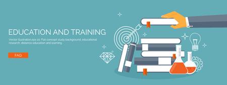 conocimiento: Ilustración del vector. Fondo de estudio plana. Educación y cursos en línea, tutoriales web, e-learning. Estudio y proceso creativo. Poder de conocimiento. Tutoriales en vídeo.