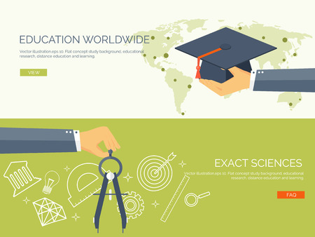 Vector illustration.University. Flat backgrounds set. Education and learning. Online courses and web school. Knowledge and information. Study process. E-learning. Ilustração