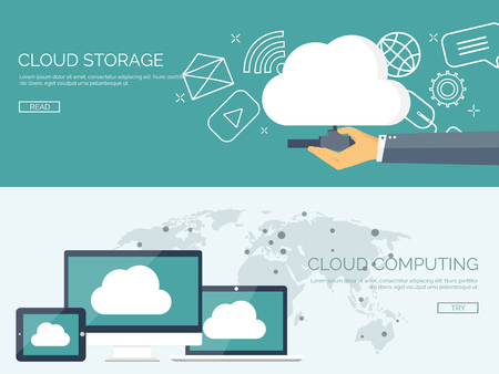 information management: Vector illustration. Flat cloud computing background. Data storage network technology. Multimedia content and web sites hosting. Memory and information transfer.