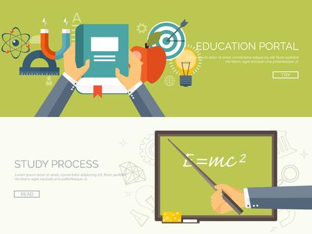 aprendizaje: Ilustración del vector. Fondos planos establecidos. La educación a distancia y el aprendizaje. Los cursos en línea y la escuela web. El conocimiento y la información. Proceso de estudio. E-learning.