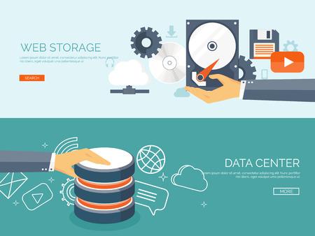 tecnología informatica: Ilustración del vector. Fondo cloud computing plana. La tecnología de redes de almacenamiento de datos. Los contenidos multimedia y sitios web de alojamiento. La memoria y la transferencia de información.