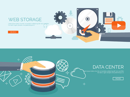 data exchange: Vector illustration. Flat cloud computing background. Data storage network technology. Multimedia content and web sites hosting. Memory and information transfer.