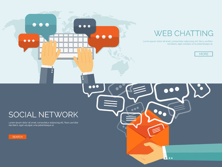 Vector illustratie. Wereldwijde communicatie. Sociale netwerk en chatten. E-mailen en sms. Gesprekken web. Internet.