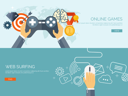 Vector illustration. Online games. Joystick and mouse. Web surfing. Player and gamepad. Entertainment. Internet.