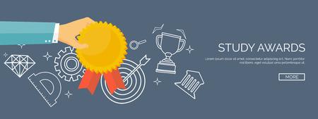 competencia: Ilustración del vector. Premio estudio plana. Primer lugar. Victorioso. La educación y la escuela, la competencia.