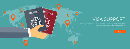 trip: Vector illustration. Flat travel background. Tourism and visa support. Tour and trip. Summer holidays. Navigation.