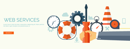 instrumentation: Vector illustration. Flat background. Web service. Mechanical tools. Development and smart solutions. Illustration