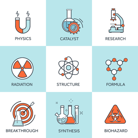 chemical equipment: Vector illustration. Medical research flat background.  Chemical equipment. Healthare and protection. Illustration