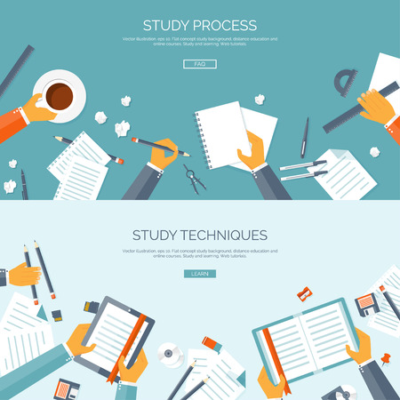 Vector illustration. Flat backgrounds set. Distance education and learning. Online courses and web school. Knowledge and information. Study process. E-learning. Vectores