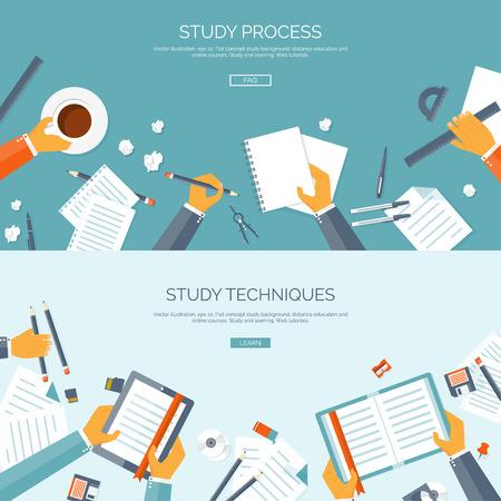 estudiando: Ilustraci�n del vector. Fondos planos establecidos. La educaci�n a distancia y el aprendizaje. Los cursos en l�nea y la escuela web. El conocimiento y la informaci�n. Proceso de estudio. E-learning.