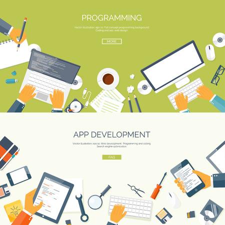 meseros: Ilustración del vector. Fondos planos establecidos. Programación y en línea de codificación. Cursos Web. Internet y diseño web. Desarrollo de aplicaciones.