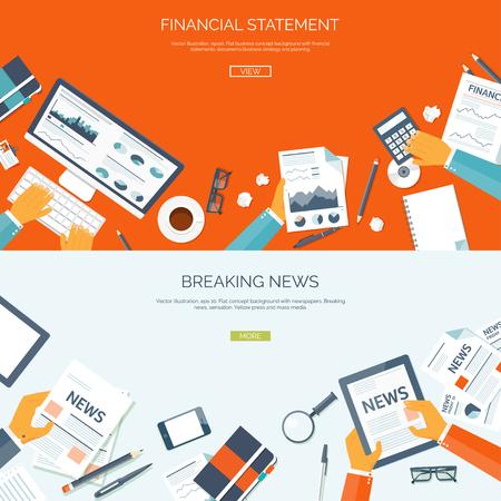 Vector illustratie. Platte achtergronden instellen. Online nieuws. Nieuwsbrief en informatie. Bedrijfsleven en de markt nieuws. Financieel rapport. Vector Illustratie