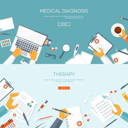 instrumental medico: Ilustraci�n del vector. Antecedentes m�dicos plana. Primeros auxilios y de diagn�stico. La investigaci�n y la terapia m�dica. Cuidado de la salud global.