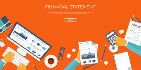marketing online: Vector illustration. Flat header. Online market news. Newsletter and information. Business and market news. Financial report. Illustration