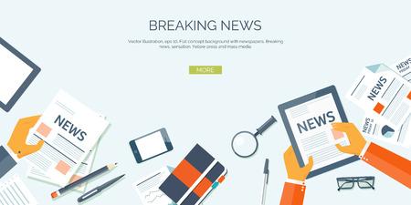 tecnologia: Illustrazione vettoriale. Intestazione Flat. Notizie online. Newsletter e informazioni. Affari e notizie di mercato. Rapporto finanziario. Vettoriali
