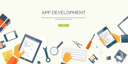 mobile device: Vector illustration. Flat header. Programming and coding online. Web courses. Internet and web design. App development.