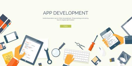 Vektor-Illustration. Flachkopf. Programmierung und Codierung online. Web-Kurse. Internet und Web-Design. App-Entwicklung. Standard-Bild - 47431428