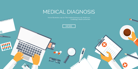diagnostic: Vector illustration. Flat header. Medical background. First aid and diagnostic. Medical research and therapy. Global healthcare.