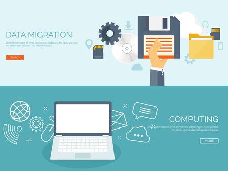 migraci�n: Vector illustration. Flat background. Computing, cloud technology. Data migration.