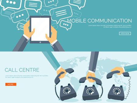 comunicación: Ilustración del vector. Fondo de la comunicación plana. Red social. Charla. Centro de llamadas. Teléfono Vectores