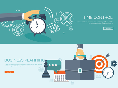 Flat business background. Portfolio. Time management. Alarm. Planning. Aims and smart solutions.