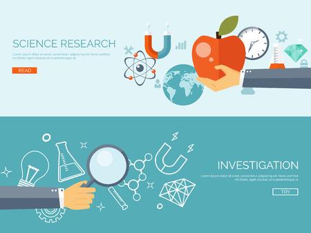 investigando: Ilustración del vector. Fondo la investigación plana. Equipos de Física y de laboratorio. Experimentos. Atómica y molecular, fórmula. Dignostic. Manzana. Estudiar.