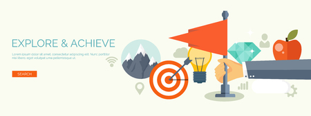 goal achievement: Vector illustration. Flat business concept background. Achievements and mission. Aims and new ideas. Smart solutions.