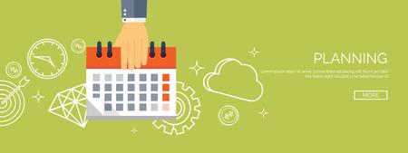 Ilustracji wektorowych. Mieszkanie data i czas w tle. Planowanie. Zarządzanie czasem. Ilustracje wektorowe