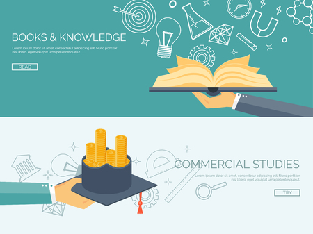 learning concept: Vector illustration. Flat backgrounds set. Distance education and learning. Online courses and web school. Knowledge and information. Study process. E-learning. Illustration