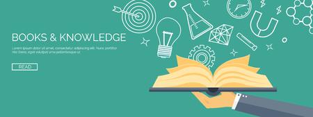 Vector illustratie. Platte achtergronden instellen. Onderwijs op afstand en leren. Online cursussen en web school. Kennis en informatie. Studie proces. E-learning.