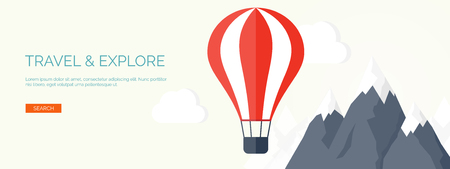 hot: Flat air balloon. Travel and explore.