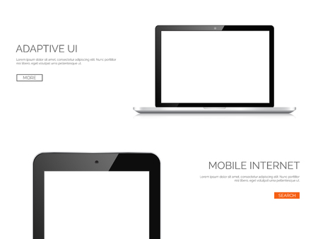 web design background: Vector illustration. Realistic laptop and tablet. Adaptive ui. Responcive web design. Illustration