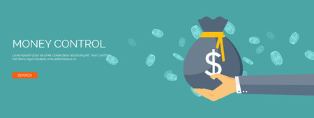 argent: Vector illustration. Fond plat avec la main et sac d'argent. faire de l'argent. D�p�t bancaire. Financials.