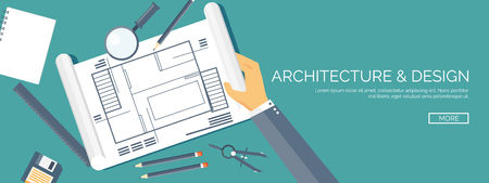 architecture: Vector illustration. Flat architectural project. Teamwork. Building and planning. Construction. Pencil, hand. Architecture and design.