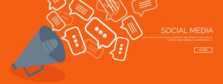 interaccion social: Ilustración del vector. Fondos planos establecidos. Las redes sociales, el chat. La comunicación global. Ordenador portátil, ordenador y altavoz. Envío por correo electrónico. Web chat y los mensajes de Internet. SMS.