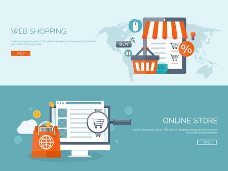 Ilustración del vector. Fondos planos establecidos. Las compras por Internet. Tienda en línea. La comunicación global y el comercio. Negocio en la Web. El comercio electrónico y la toma de dinero. Banca por Internet.