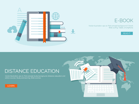 Ilustración del vector. Fondos planos establecidos. La educación a distancia y el aprendizaje. Los cursos en línea y la escuela web. El conocimiento y la información. Proceso de estudio. E-learning. Ilustración de vector