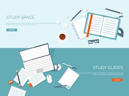 Ilustración del vector. Fondos planos establecidos. La educación a distancia y el aprendizaje. Los cursos en línea y la escuela web. El conocimiento y la información. Proceso de estudio. E-learning.
