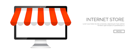 internet shopping: Vector illustration. Computer. Online store, internet shopping. Web deals and currency.