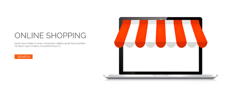 internet shopping: Vector illustration. Laptop. Online store, internet shopping. Web deals and currency.