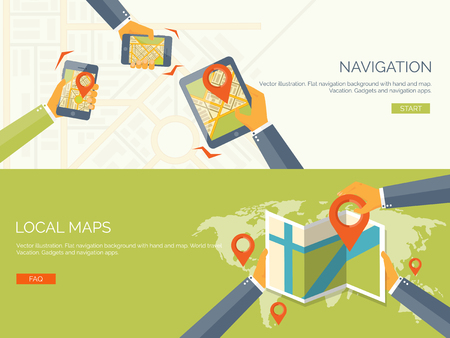 navegacion: Ilustración del vector. fondos de pantalla plana conjunto. Navegación y viajes. puntero del mapa y encontrar un lugar. Aplicación web.