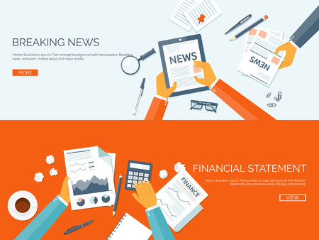 news: Vector illustration. Flat backgrounds set. Online news. Newsletter and information. Business and market news. Financial report.