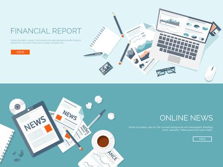 periodicos: Ilustración del vector. Fondos planos establecidos. Noticias en línea. Boletín de noticias y la información. Negocios y noticias del mercado. Informe financiero.