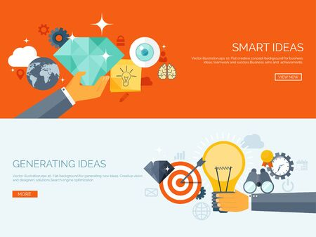 new ideas: Vector illustration. Flat backgrounds set. New ideas and smart solutions. Business aims. Teamwork. Targeting. Illustration