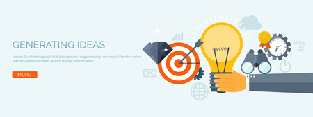 new ideas: Vector illustration. Flat header. New ideas and smart solutions. Business aims. Teamwork. Targeting.