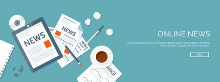 Illustrazione vettoriale. Intestazione Flat. Notizie online. Newsletter e informazioni. Affari e notizie di mercato. Rapporto finanziario.