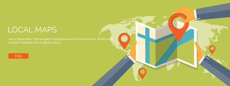 Vector illustration. Flat header. Navigation and travelling.  Map pointer and location finding. Web application.